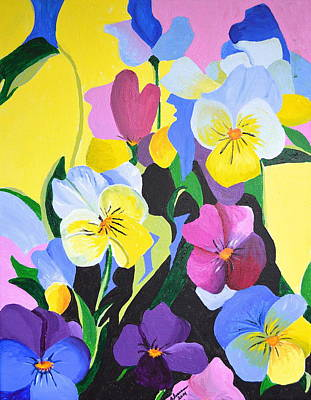 Painting - Pansies by Donna Blossom