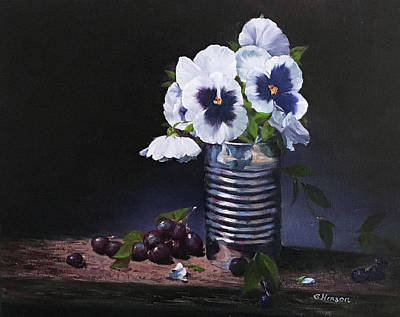 Pansies In A Can Art Print
