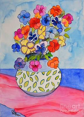 Painting - Pansies In A Leafy Vase by Caroline Street