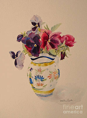 Pansies In A Quimper Pot Art Print by Beatrice Cloake
