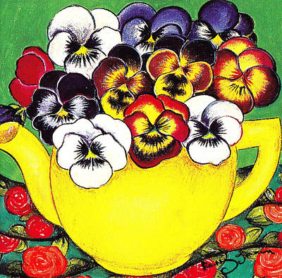 Pastel - Happy Faces In Teapot by Richard Lee
