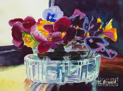 Gouache Painting - Pansies In Crystal Vase   by Kathy Braud