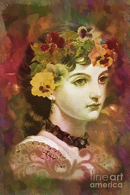 Digital Art - Pansies In Her Hair 2016 by Kathryn Strick