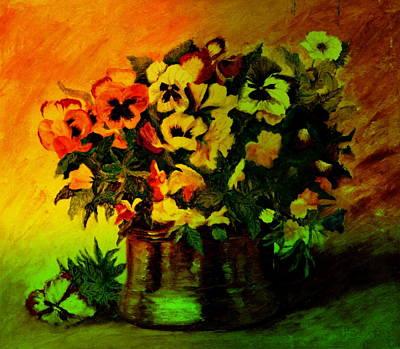 Painting - Pansies In The Vase by Henryk Gorecki