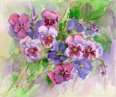 Painting - Pansies by Garden Gate
