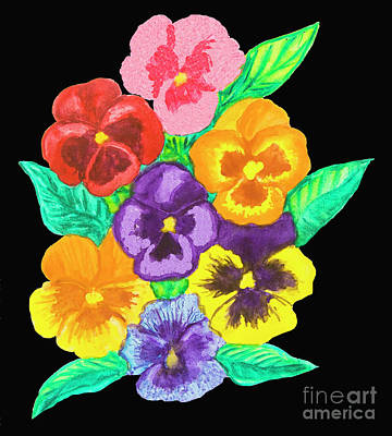 Pansies On Black Art Print