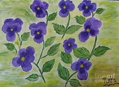 Cherry Blossoms Painting - Pansies Smiling by Nisha Verma