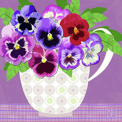 Flower Still Life Mixed Media - Pansies Stand For Thoughts by Valerie Drake Lesiak