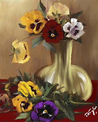 Painting - Pansies That Speak Love. by Ralph Taylor