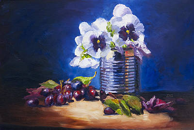Pansy And Grapes Art Print by David Gorski