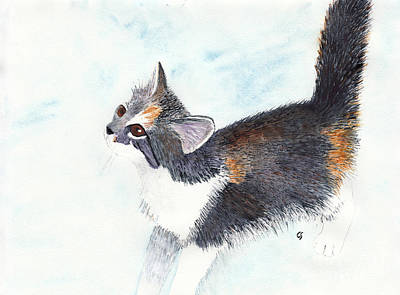 Old Masters - Calico Barn Cat Watercolor by Conni Schaftenaar