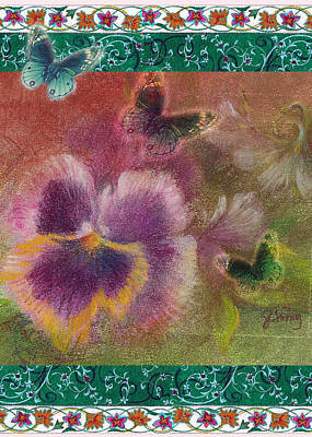 Art Print featuring the painting Pansy Butterfly Asianesque Border by Judith Cheng