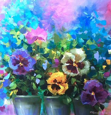 Pansy Painting - Pansy Dance by Nancy Medina