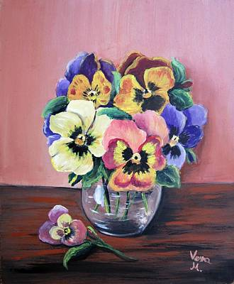 Still Life Painting - Pansy For Mother by Vesna Martinjak