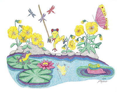 Lilly Pond Drawing - Pansy Parade by Judy Cheryl Newcomb