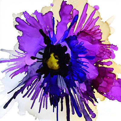 Alcohol Ink Wall Art - Painting - Pansy Punch by Marla Beyer