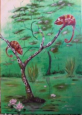 Panther Chameleons On The Lake Art Print