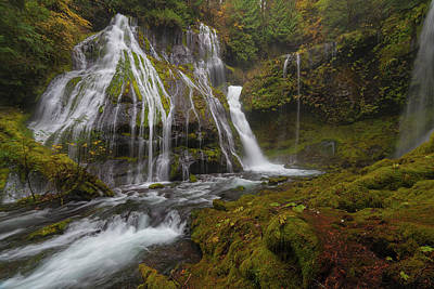 Panther Creek Falls In Autumn Art Print by David Gn