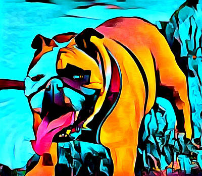 Digital Art - Panting Lady Bulldog Abstract by Barbara Snyder