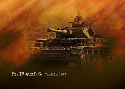 Art Print featuring the digital art Panzer 4 Ausf G by John Wills