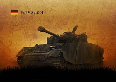 Art Print featuring the digital art Panzer 4 Ausf H by John Wills