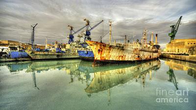 Maltese Photograph - Paola Dock Reflections  by Rob Hawkins
