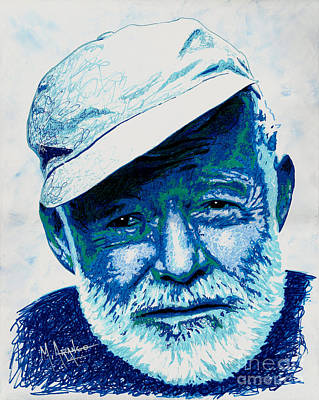Old Man And The Sea Painting - Papa Hemingway by Maria Arango