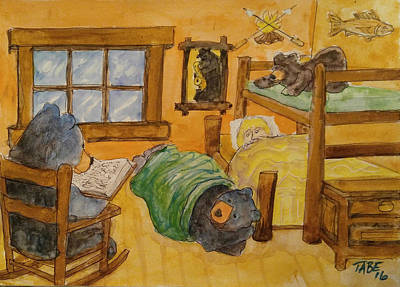 Papa Reads Twain Art Print by Kenneth Taber
