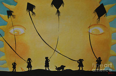 Mexicano Painting - Papalotes Kites by Jose Luis Montes