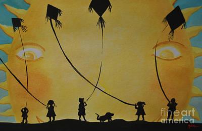 Black Kid Playing Painting - Papalotes Kites by Jose Luis Montes