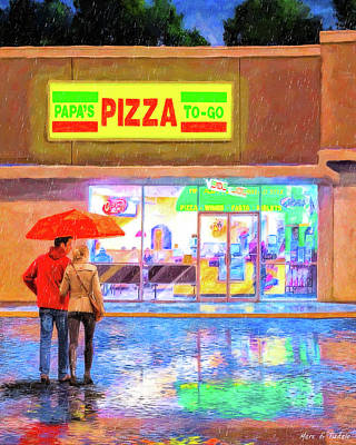 Mixed Media - Warm Destination On A Rainy Night by Mark Tisdale