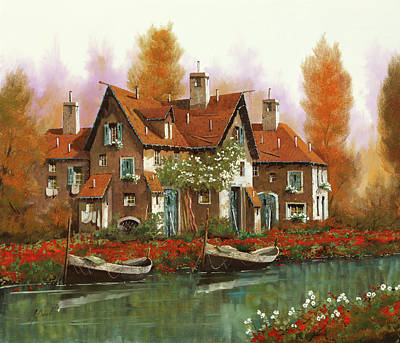 Paintings - Papaveri Al Torrente by Guido Borelli