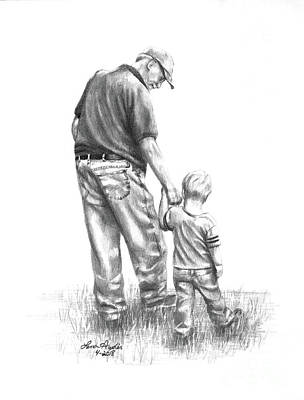 Drawing - Papaw And His Sidekick by Lena Auxier