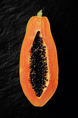 Papaya Cross-section On Black Slate Art Print