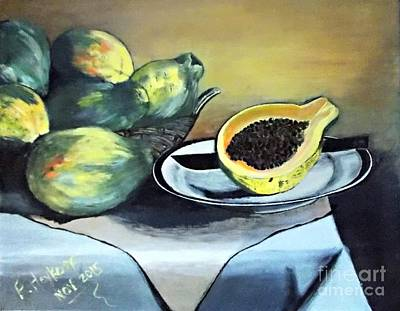 Painting - Papaya Still Life by Francine Heykoop