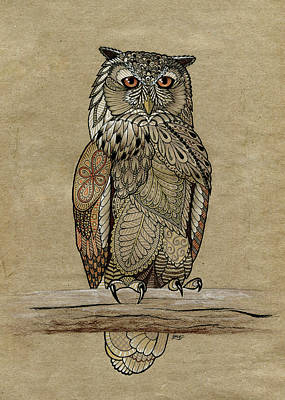 Drawing - Paper Bag Owl by ZH Field