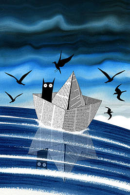 Seagull Digital Art - Paper Boat  by Andrew Hitchen