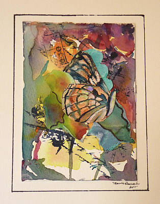 Art Print featuring the painting Paper Butterfly by P Maure Bausch