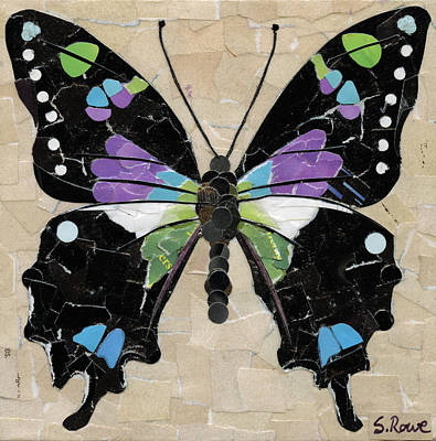 Mosaic Mixed Media - Paper Butterfly - Purple Spotted Swallowtail  by Shawna Rowe