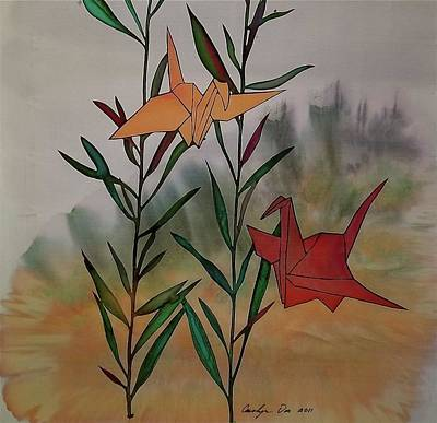 Japanese Silk Tapestry - Textile - Paper Cranes 1 by Carolyn Doe