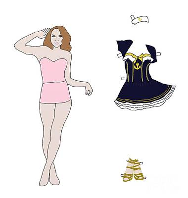 Toy Boat Digital Art - Paper Doll Sailor Outfit by Priscilla Wolfe