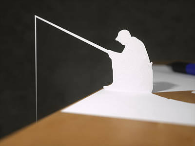 Paper Fisherman Fishing From Desk Art Print by Richard Seanor