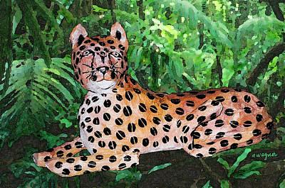Big Cat Photograph - Paper Mache Leopard by Arline Wagner