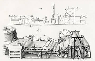 Paper Making Machine, 19th Century Art Print