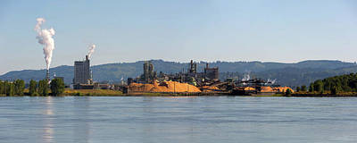 Wall Art - Photograph - Paper Mill Along Columbia River Panorama by David Gn