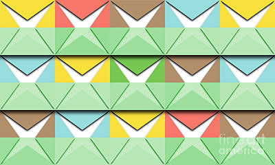 Multicolor Paper Squares And Green Stripes Original