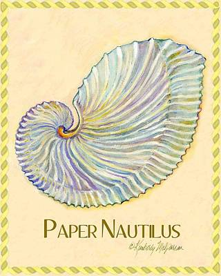 Shell Sign Painting - Paper Nautilus by Kimberly McSparran
