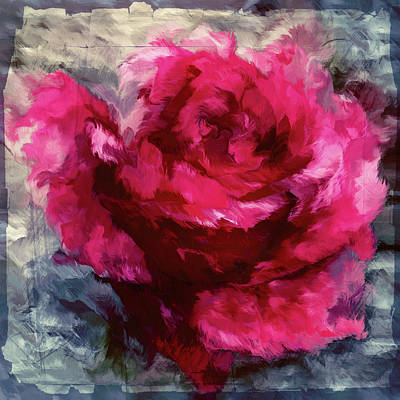 Mixed Media - Paper Passion Rose Abstract Realism by Georgiana Romanovna