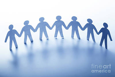Global Photograph - Paper People Standing Together Hand In Hand. Team, Society, Business Concept by Michal Bednarek