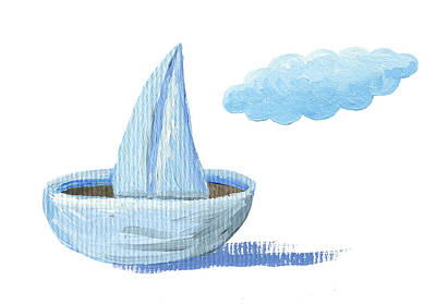 Toy Boat Mixed Media - Paper Sailboat by Hicham  Attalbi alami